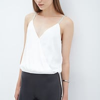 FOREVER 21 Bejeweled Surplice Cami Winter White