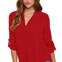 Red V Neck Loose Fitting Chiffon Blouse