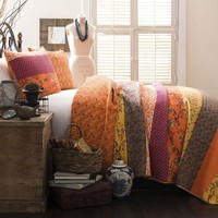 Royal Empire Orange Striped Boho 3 PC Quilt Bedding SET