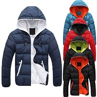 5 colors Men's Slim Casual Warm Jacket Hooded Winter Thick Coat Parka Overcoat  Hoodie New Clothes