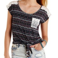 Blue Combo Lace Pocket & Yoke Tie-Front Tee by Charlotte Russe