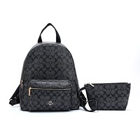 """COACH "" Fashion Hot Women's Casual Travel Print Backpack Black"