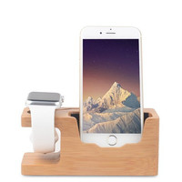 Apple Watch Bamboo Wood Charging Stand, iPhone Charging Bracket Docking Station Stock Cradle Holder Support Apple iPhone charger station Nightstand Mode with iPhone SE 5 /5S/ 6s/ 6 Plus/ 6,BAMBOO WOOD