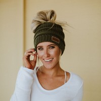 Messy Bun Knitted Beanie - Olive Green