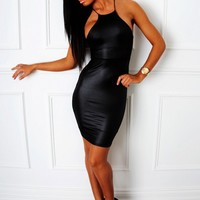 Dominate Black High Neck Leather Effect Mini Dress | Pink Boutique