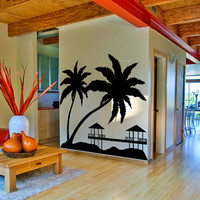 Paradise with Palms & Bungalows on Sunset Beach, Design Vinyl Wall Sticker, Art Decor Removable Decal for Home, Window, Room or Kitchen