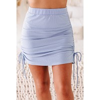 Make The Call Ribbed Side Ruched Skirt (Sky Blue)