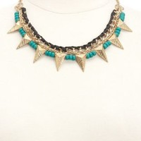 Mixed Media Beaded Spike Collar Necklace by Charlotte Russe - Gold