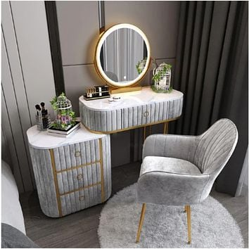 Glossy Finish Marble Top Dressing Table Set