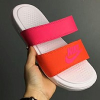 NIKE Popular Women Men Casual Splicing Color Flats Slipper Sandals Shoes Rose Red+Orange(White Sole) I-CSXY