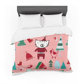 """bruxamagica """"Cute Santa Cat Pink"""" Pink Red Animals Holiday Illustration Featherweight Duvet Cover"""