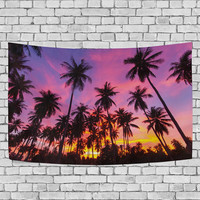 Coconut Palm Tree Tapestry Wall Hanging Beautiful Sunset Sky Wall Art Home Decor Gift for Her Him