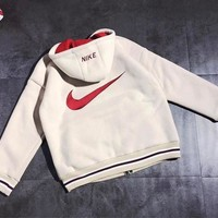 NIKE Fashionable Women Men Warm Lambs Wool Zipper Cardigan Jacket Coat White