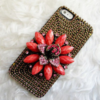 Pink Flowers Design Retro Accessories Studded iPhone Case, iPhone 4 Case, iPhone 5 Case , Swarovski Crystal iPhone 4s Case,