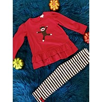 Fall Fun Red Monkey With Stripped Pants CH