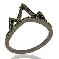 Crown Design Tsavourite Ring Black Oxidized Sterling Silver Loving Ring