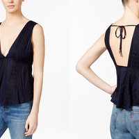 Free People Twist And Shell Embroidered Top | Navy