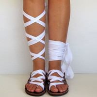 """Leather Sandals, handmade, Unique design, with satin plisse straps """"APHRODITE"""" AS15 All sizes Available"""