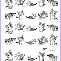 1X  Nail Sticker Cartoon Puss Cat  Water Transfers Stickers Nail Decals Stickers Water Decal Opp Sleeve Packing SY367