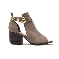 Carrie Open Toe Booties in Taupe