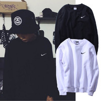 Love-Q168 NIKE Sweethearts outfit sets small pure and fresh and pure color fleece single men and women long sleeve coat