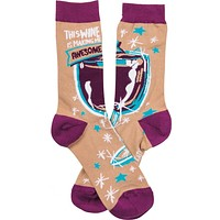 This Wine Is Making Me Awesome Funny Novelty Socks with Cool Design, Bold/Crazy/Unique Specialty Dress Socks