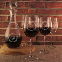Personalized Glass Carafe with Stopper with Design Options and Font Selection (Decanter Only, Glasses Listed Seperately)