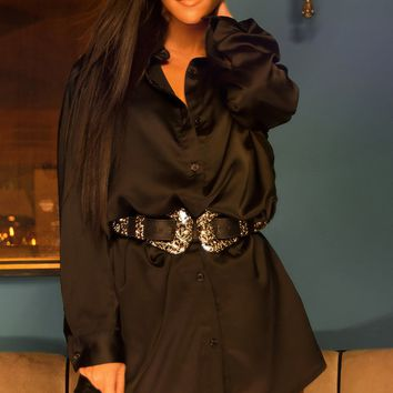 Black Extreme Oversized Satin Shirt Dress