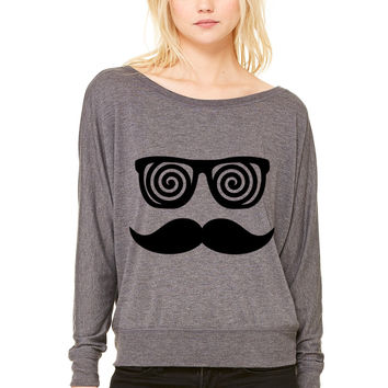 Anonymous confusing Moustache WOMEN'S FLOWY LONG SLEEVE OFF SHOULDER TEE