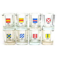 """Nautical Signal Code Flag """"On The Rocks"""" Glasses (Set of 8) - Unique Numbered Bar Serving Glass - Vintage Home Kitchen Decor"""