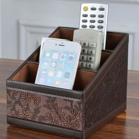 3 Grinds PU Leather Storage Boxes Remote Control Holder Container Retro Flower Cosmetic Makeup Storage Home Organizer
