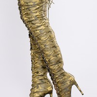 Puff Puff Lace Up Boot - Camo