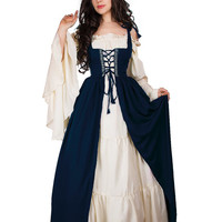 Renaissance Medieval Irish Costume Indigo Over Dress Fitted Bodice  XXS/XS