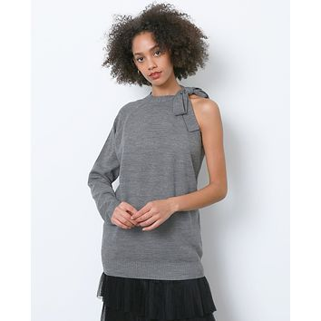 High Impact Off-shoulder Sweater - Gray