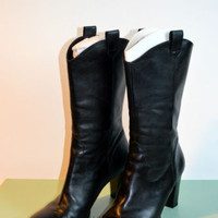 Gianni Bini Black Leather Boots Size 9.5 With Box Excellent Condition Heels