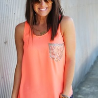 Pocket Sequin Tank {Neon Coral}