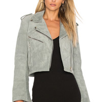 Understated Leather Cropped Bell Sleeve MC Jacket in Smoke   REVOLVE
