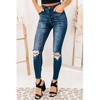 Don't Forget High Rise Distressed Jeans (Dark)