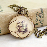 Sailing the Seven Seas - Sailing Ship Pendant - wire wrapped Nautical Necklace