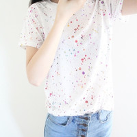 White Multi-Colored Dotted Print Short Sleeve Shirt