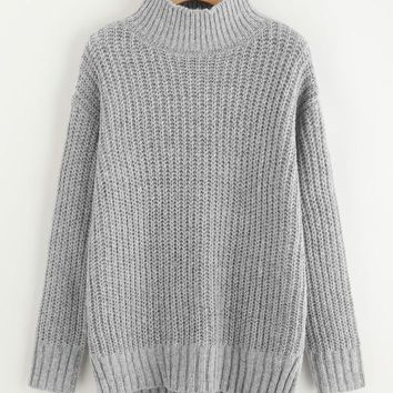 Grey Marled Stepped Hem Knit Slit Jumper