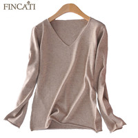 Women Autumn Winter V Neck Rolled Cuff & Hem Cashmere Blend Knitted Pullover Knitwear Thin Sweaters All-Match Jersey Pulls