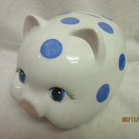 Bank Piggy, Gift, Blue Polk a Dots, Porcelain Ceramics Pottery, Hand Painted and Kiln Fired by B. Marsh