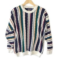 Men's Textured Stripe Tacky Ugly Cosby Sweater