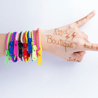 Lot of 8 Zipper Bracelets 8 Colors 2 Tone Neon color Fashion Zipper Bracelets - teen bright fun rock cheerful neon party halloween cosplay