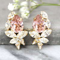 Blush Bridal Earrings, Bridesmaids Blush Earrings, Swarovski Blush Crystal Earrings, Gift For Her, Bridal Cluster Earrings, Blush Studs