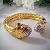Vintage 1980's Statement Bracelet 14K Yellow and White Gold Amethyst Cabochon February Birthstone
