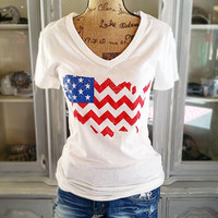 PROUD TO BE AN AMERICAN TEE IN WHITE