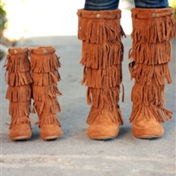 Studded Fringe Boots in Tan