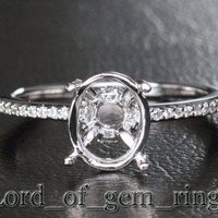 7x9mm Oval Cut .23ctw Diamonds Solid 14K White Gold Engagement Semi Mount Ring